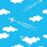 Teste padrão sem emenda dos aviões azuis simples do céu nebuloso Ilustração do Vetor