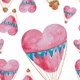 Teste padrão sem emenda dos balões na forma do coração com cestas Imagens de Stock Royalty Free
