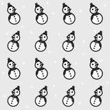 Teste padrão sem emenda dos bonecos de neve e dos flocos de neve do Grayscale Imagens de Stock Royalty Free