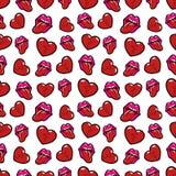 Teste padrão sem emenda dos bordos e dos corações quebrados Fundo do amor no estilo retro da forma Fotos de Stock