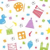 Teste padrão sem emenda dos brinquedos dos miúdos [2] Fotos de Stock Royalty Free