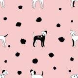 Teste padrão sem emenda dos cães no fundo cor-de-rosa macio dalmatian Ilustração do vetor Imagens de Stock Royalty Free