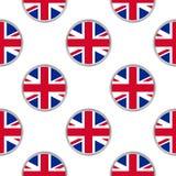 Teste padrão sem emenda dos círculos com a bandeira do Reino Unido ilustração royalty free