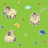 Teste padrão sem emenda dos carneiros Imagens de Stock Royalty Free