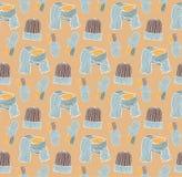 Teste padrão sem emenda dos chapéus, dos mitenes e de um lenço Imagens de Stock Royalty Free