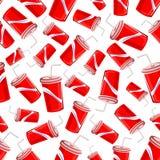 Teste padrão sem emenda dos copos de papel da soda do fast food Foto de Stock
