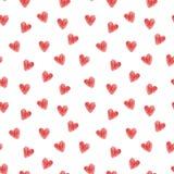 Teste padrão sem emenda dos corações Corações listrados vermelhos no branco ilustração do vetor