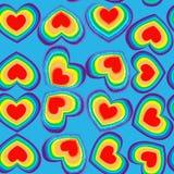 Teste padrão sem emenda dos corações do arco-íris Fotos de Stock Royalty Free