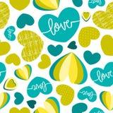 Teste padrão sem emenda dos corações do vetor com máscaras azuis & verdes brilhantes das cores Foto de Stock