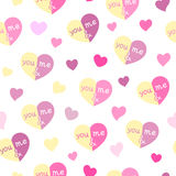 Teste padrão sem emenda dos corações você & mim Fotografia de Stock Royalty Free