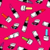 Teste padrão sem emenda dos cosméticos Imagens de Stock Royalty Free