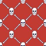 Teste padrão sem emenda dos crânios e dos ossos Vetor Fotografia de Stock