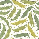 Teste padrão sem emenda dos crocodilos engraçados Fundo bonito no estilo criançola Imagem de Stock