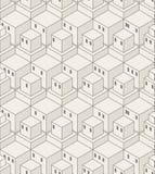 Teste padrão sem emenda dos cubos Fundo geométrico abstrato da cidade ilustração royalty free