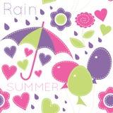 Teste padrão sem emenda dos desenhos animados bonitos com balões, guarda-chuvas, flores ilustração royalty free