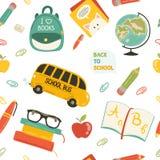 Teste padrão sem emenda dos desenhos animados bonitos da escola Imagem de Stock Royalty Free