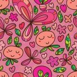 Teste padrão sem emenda dos desenhos animados bonitos da flor ilustração stock