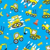 Teste padrão sem emenda dos desenhos animados bonitos do carro com fundo azul ilustração royalty free
