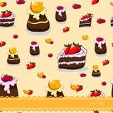 Teste padrão sem emenda dos desenhos animados com bolos e frutos Imagem de Stock Royalty Free