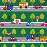 Teste padrão sem emenda dos desenhos animados com carros Fotos de Stock