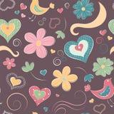 Teste padrão sem emenda dos desenhos animados com corações e flores Fotografia de Stock