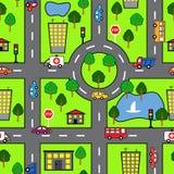Teste padrão sem emenda dos desenhos animados com estrada brilhante, o carro e a cidade imagem de stock