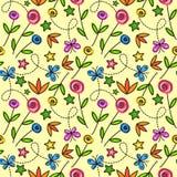 Teste padrão sem emenda dos desenhos animados com flores e borboletas Imagem de Stock