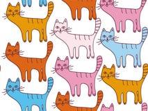 Teste padrão sem emenda dos desenhos animados com gatos Imagem de Stock Royalty Free