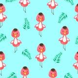 Teste padrão sem emenda dos desenhos animados do flamingo pintado à mão na aquarela imagem de stock