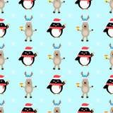 Teste padrão sem emenda dos desenhos animados dos cervos do pinguim Fotos de Stock Royalty Free