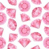 Teste padrão sem emenda dos diamantes cor-de-rosa da aquarela Foto de Stock