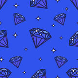 Teste padrão sem emenda dos diamantes Ilustração no fundo azul Forma e estrelas da gema Imagens de Stock Royalty Free