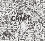 Teste padrão sem emenda dos doces da garatuja Fotografia de Stock