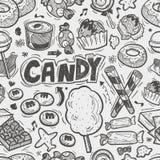 Teste padrão sem emenda dos doces da garatuja Foto de Stock Royalty Free