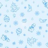 Teste padrão sem emenda dos elementos do Natal do vetor Ilustração Royalty Free