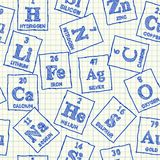 Teste padrão sem emenda dos elementos químicos ilustração do vetor