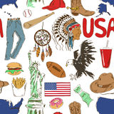 Teste padrão sem emenda dos EUA do esboço Fotografia de Stock Royalty Free