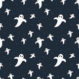Teste padrão sem emenda dos fantasmas bonitos de Dia das Bruxas Fotografia de Stock Royalty Free