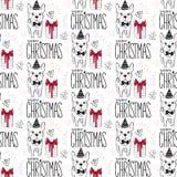 Teste padrão sem emenda dos feriados com cão engraçado Animais de estimação do ano novo feliz Fundo do Feliz Natal Projeto do inv Imagem de Stock