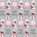 Teste padrão sem emenda dos feriados com cão engraçado Animais de estimação do ano novo feliz M Imagens de Stock