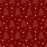 Teste padrão sem emenda dos feriados de inverno da véspera do Natal e de ano novo com abeto e os doces dourados no fundo vermelho Fotos de Stock