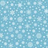 Teste padrão sem emenda dos flocos de neve As estrelas do floco da neve do inverno, caindo lascam-se neves e fundo nevado do veto ilustração stock