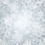 Teste padrão sem emenda dos flocos de neve claros de prata brilhantes para Imagem de Stock Royalty Free