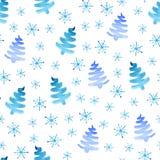 Teste padrão sem emenda dos flocos de neve das árvores de Natal ilustração royalty free