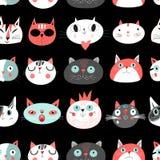 Teste padrão sem emenda dos gatos ilustração do vetor