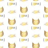 Teste padrão sem emenda dos gatos bonitos do vetor da garatuja ilustração do vetor