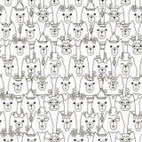 Teste padrão sem emenda dos gatos bonitos Fundo preto e branco Fotografia de Stock