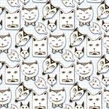 Teste padrão sem emenda dos gatos da garatuja Desenhos animados tirados mão Fotografia de Stock