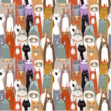 Teste padrão sem emenda dos gatos dos desenhos animados engraçados Imagem de Stock