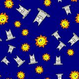 Teste padrão sem emenda dos gatos e dos sóis no estilo dos desenhos animados ilustração do vetor
